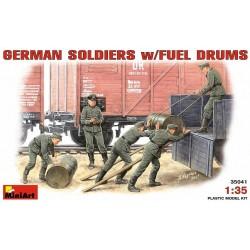 GERMAN SOLDIERS w/FUEL DRUMS